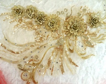 """Embroidered 3D Applique Light Gold Floral Ballet Sequin Patch Rhinestone Accented 20"""" (DH71-lgl)"""