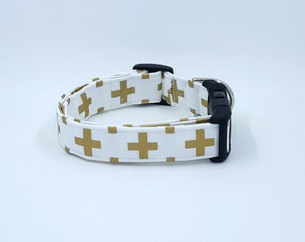 Cross Your Heart Gold Metallic Crosses on White Dog Collar Christian Fashion Easter