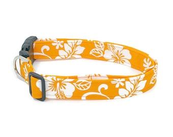Beach Bum Pup White Hibiscus Hawaiian Flowers on Bright Orange Beachy Dog Collar