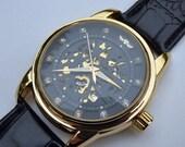 Black & Gold Luxury Mechanical Wrist Watch, Black Leather Wristband, 45mm, Automatic Watch, Unisex Watch, Rhinestones - Item MWA53103
