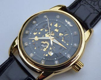 Goldtone Luxury Mechanical Wrist Watch, Black Leather Wristband - Automatic Self Winding - Rhinestone Black & Gold Watch, Item MWA53103