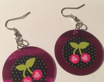 cherry earrings pink sequin earrings pink drop earrings LONG dangles SPARKLY cherry jewelry fruit jewelry cherry earringshandmade USA