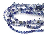 Feb Sale - Blueberry Quartz Beads - choose from 4mm or 6mm smooth round beads or chip beads - man-made blue crystal fruit quartz jewelry bea