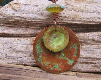 Handmade Copper Jewelry and Lampwork Bead - Spring Green & Red Dirt Roads