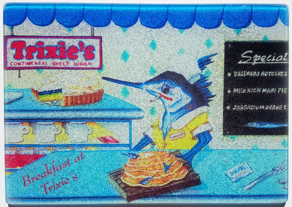 Breakfast at Trixie's Diner glass cutting board serving tray ballyhoo pancakes humorous art