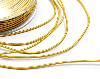 Yellow silk cord, thin mustard yellow cord,  1.5mm satin yellow cord, 4 meters