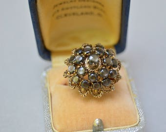 Antique 8K Gold Cluster Dome Ring . Gray Mother Of Pearl . Cluster Ring . Marked . Size 8