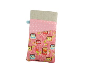 Owl Phone Case, iPhone 7 Sleeve, Gift for Girls, iPod 6G, iPhone 6S Pouch, iPhone 7 Plus Case, SE Phone Case, Fabric Phone Sleeve
