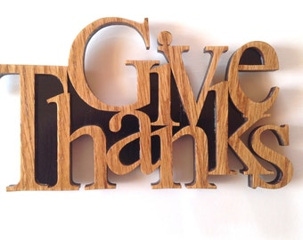 Give Thanks sign scroll saw cut, fretwork, wall hanging, home decor, woodworking, 8L