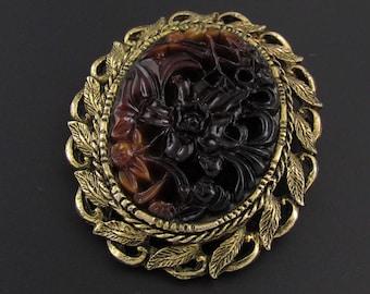 Molded Glass Brooch, Carved Brooch, Faux Stone Brooch, Floral Brooch, Leaf Brooch, Gold Brooch, Brown Brooch, Large Brooch, Pendant Brooch