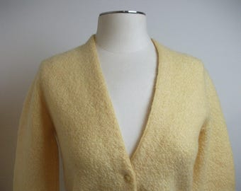 Yellow 50s Mohair Cardigan Sweater, Size Small