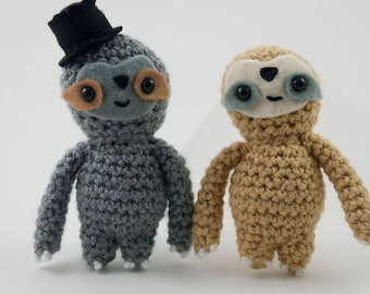 Wedding cake topper Sloth top hat and veil crochet