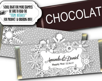12 Candy Bar Wrappers, Wedding, Bridal Shower, Engagement Party,Baby Shower, Birthday Party, Winter Time Snowflakes, Silver or Gold Colors