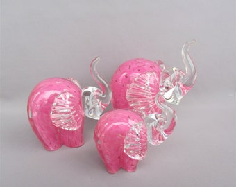 Hand Blown  Art Glass Elephant Family Figurines - Set of 3 -Pink color.
