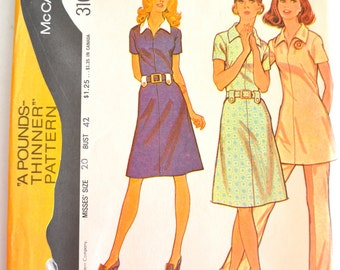 Vintage 1970's McCall's 3101 Pounds Thinner Misses Dress or Tunic and Pants Size 20 UNCUT