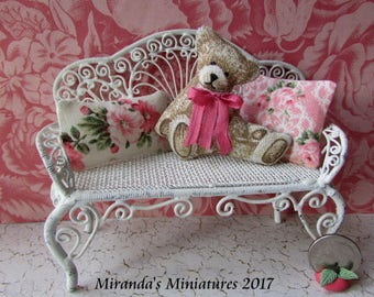 Teddy Bear Cottage Chic peachy Pink ROSE dollhouse miniature Pillow Set cottage
