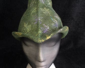 Unusual top hat styled avocado green merino wool hat