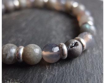 Labradorite bracelet - silver druzy - grey agate - sterling silver beads - perfect stacking bracelet