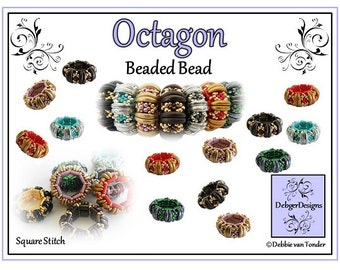 Beading Pattern, Tutorial, Beaded Bead - OCTAGON