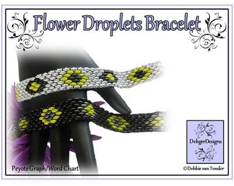 Beading Pattern, Tutorial, Bracelet - FLOWER DROPLETS