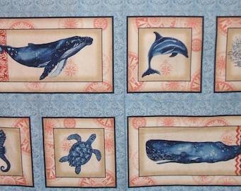 Marine Isle Whale Coral Dolphin Turtle Robert Kaufman Fabric Block Panel