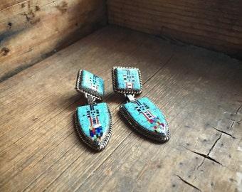 Vintage Zuni Ronnie & Ramil Glodove micro inlay earrings Yei symbol turquoise jewelry