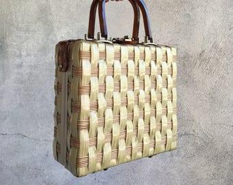 Vintage box purse Stylecraft wicker with Lucite handles, 1950s reinforced woven straw standup purse, straw handbag, summer wicker purse