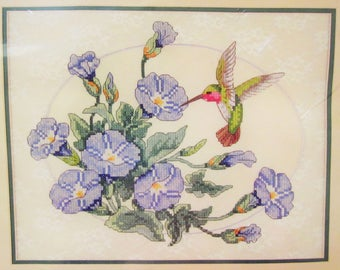 Dimensions Stamped Cross Stitch Kit, MORNING GLORIES with Hummingbird, 1994