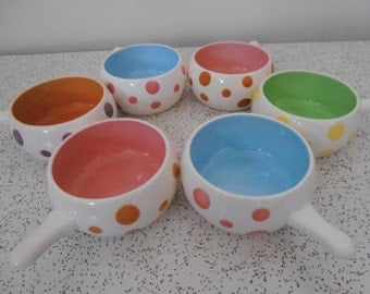 dottie...set of 6 vintage ceramic ramekins