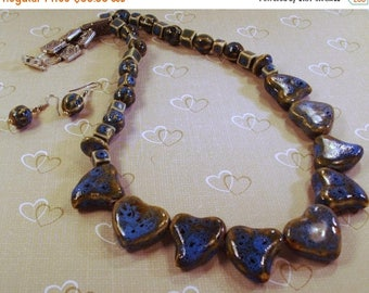 On Sale Large Blue Porcelain Hearts  Necklace with Earrings