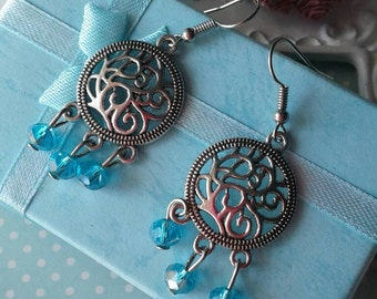Blue Crystal Earring,Chandelier Earrings