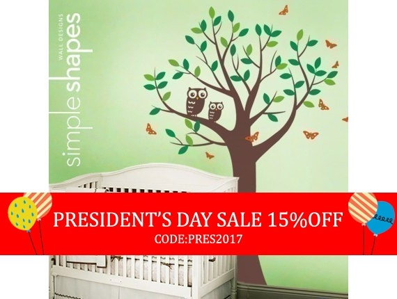 President's Day Sale - Tree with Two Owls and Butterflies Decal Set - Boy and Girl Kid's Room Wall Sticker