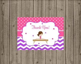 Gymnastics Thank You Card, Gymnastics Birthday, Girls Birthday Party Thank you, Instant Download