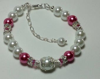 Pink and White Pearl Bridesmaid Bracelet