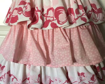 Pink Raspberry White APRON created OOAK vintage Tablecloth