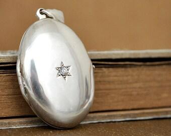 vintage sterling silver locket necklace, stone accent locket necklace, large oval locket, 925 locket necklace