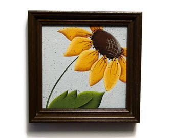 Sunflower in Brown Frame, Handpainted, Hand Painted Framed Home Decor, Wall Art, Tole Decorative Painting