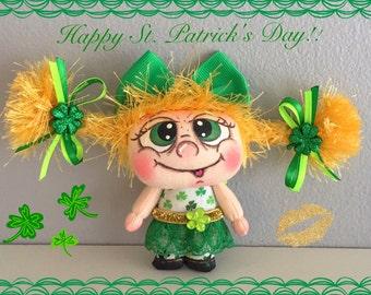 "OOAK Artist Miniature Cloth Pocket St. Patrick's Day Rag Doll ""IRISHA"" only 3 1/2"" "" high!"