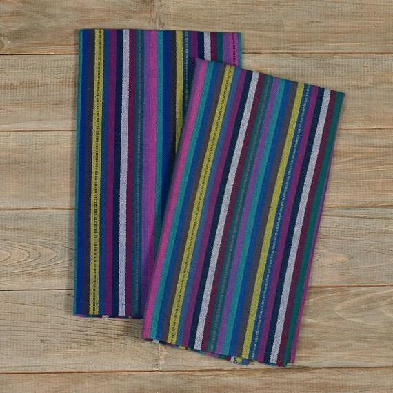 Kitchen Towels Cobalt Blue Striped Handwoven By MayaMamWeavers