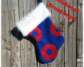 Fishman Donut Phishmas Stocking in Navy Blue Fleece with Red Sequin O's and Faux Fur Trim