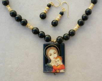 Exclusive Russian Lacquer Pendant, Mary & Baby Jesus,Artist Signed,Onyx and Gold Vermeil/Sterling Silver Beads,Necklace Set by SandraDesigns