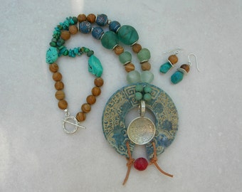 Unique Cultural Mix, Chinese Jade Pendant & Silver Mayan Calendar, African Glass/Turquoise/Matte Jasper Beads, Necklace Set by SandraDesigns
