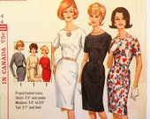 1960s Dress pattern pencil skirt sheath dress retro vintage sewing pattern proportioned short med tall Simplicity 5324 size 14 bust 34 uncut