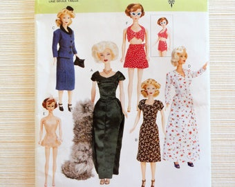 Barbie doll clothes pattern, retro 1945 style doll clothing, dress, evening gown, fur stole, teddy bathing suit, Vogue 756, sewing pattern