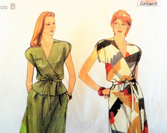 Misses dress pattern, sleeveless wrap dress or top, skirt, vintage sewing pattern Butterick 3784 misses size 10, 12, 14 bust 32 1/2, 34, 36