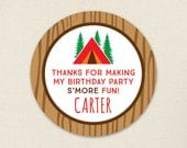 Camping Party Favor Stickers - Sheet of 12 or 24