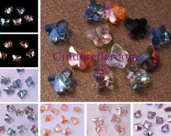 Wholesale 50pcs 10X8mm Exquisite Butterfly Faceted Crystal Glass Charms Loose Spacer Beads Jewelry Making Crafts Findings 12 Colors YX045