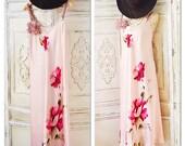 Clearance Sale M Gypsy spell pink Slip dress boho sundress, Vintage 90s grunge floral slip Bohemian festival, Gypsy soul True rebel clothing