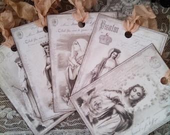 french flea market religious tags set of 5