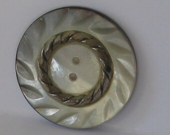 Vintage 27mm  Metal and Abalone Button Single Piece